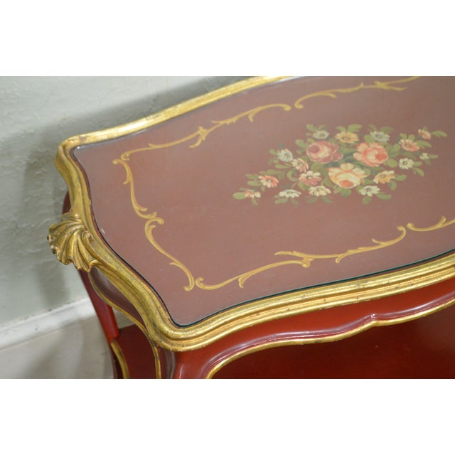 Rococo Hand Painted Partial Gilt Etagere 2 Tier Table - Image 5 of 11