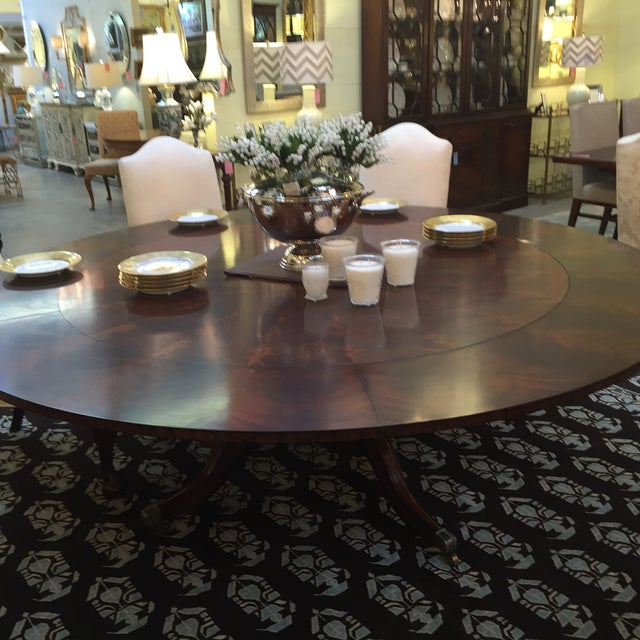 Maitland Smith Round Mahogany Table with Leaves - Image 3 of 9