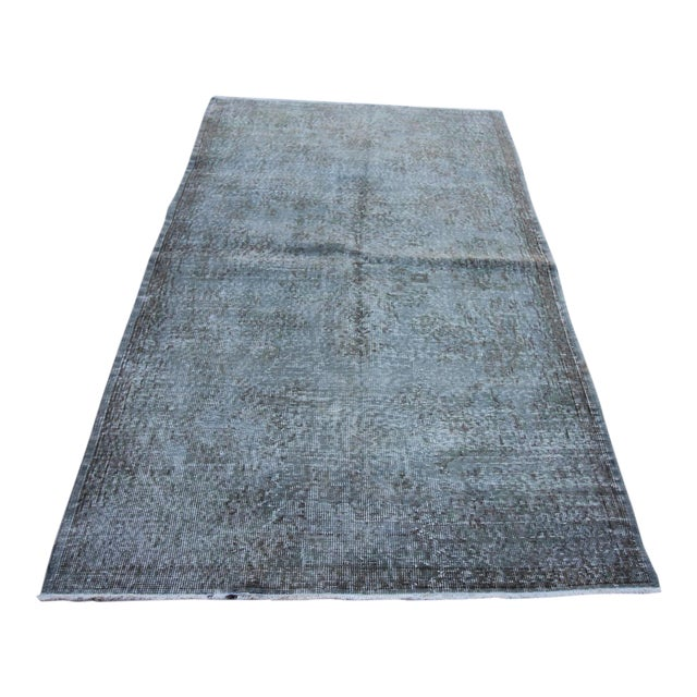 "Vintage Gray Overdyed Rug - 4'2"" X 7' For Sale"