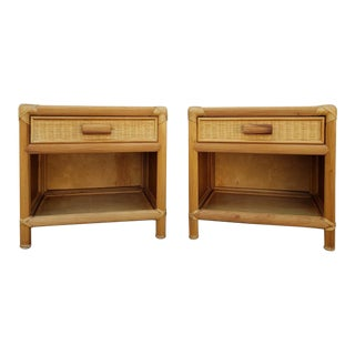 Vintage Boho Chic Rattan Nightstands - a Pair For Sale