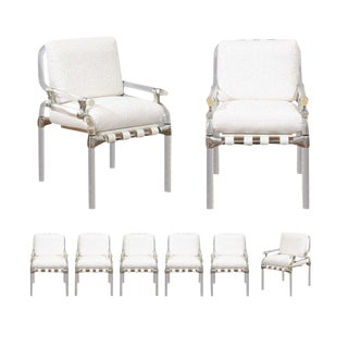 Staggering Set of Eight Signed Lucite Dining Chairs by Jeff Messerschmidt, 1985 For Sale