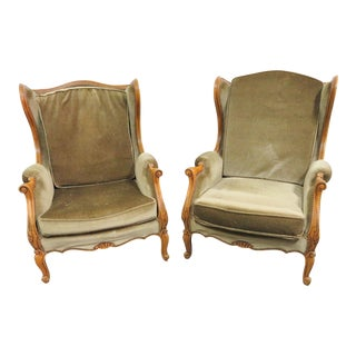 Louis XV Velvet Upholstered Walnut Wingback Chairs - a Pair For Sale