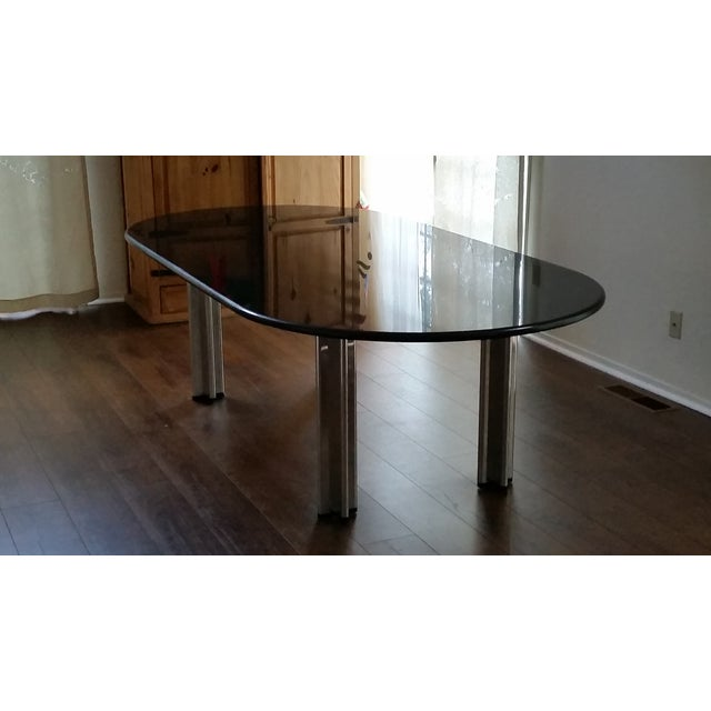 1980's Knoll Racetrack Black Marble Table - Image 3 of 7