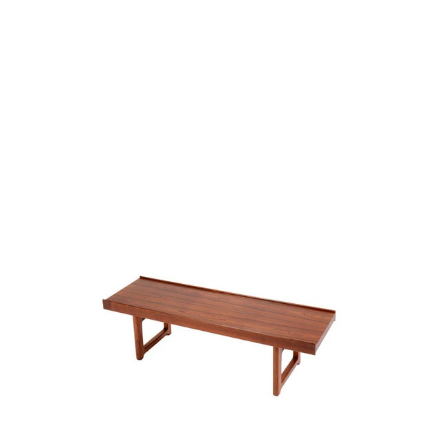 "Mid-Century Modern Torbjorn Afdal for Bruksbo Norway ""Korbo"" Bench in Rosewood For Sale - Image 3 of 6"