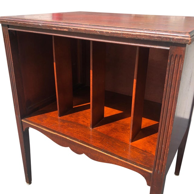 Antique Traditional Mahogany Carved Vinyl Record Cabinet Holder For Sale - Image 4 of 12