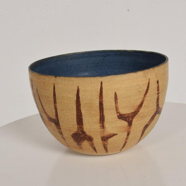 Mid-Century Modern Mid Century Modern Bowl With Beautiful Decoration, Earth Tones With Blue Inside Natzler Era For Sale - Image 3 of 9