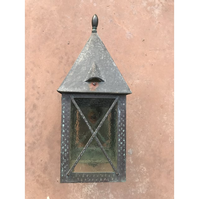 Stunning Tudor Style Bronze Outdoor Sconce with Verdigris Patina. A Piece with its own personality. Would stand out right...
