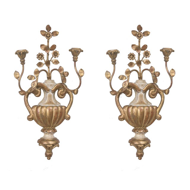 Pair of Palladio Style Cream and Gilt Sconces For Sale In West Palm - Image 6 of 6