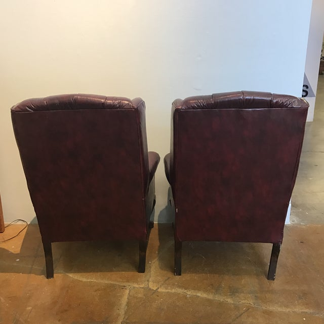 Chesterfield Oxblood Wingback Chairs - A Pair - Image 5 of 11