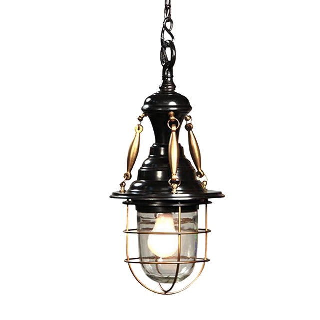 Industrial Brass Black Lantern For Sale