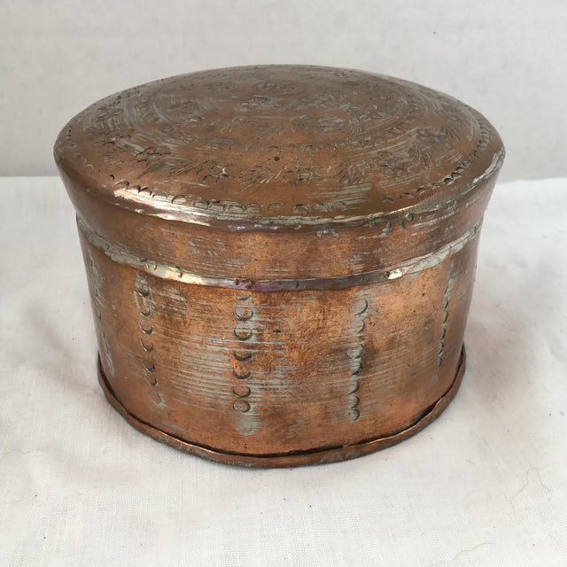 Vintage Copper Coated Tin Keepsake Container