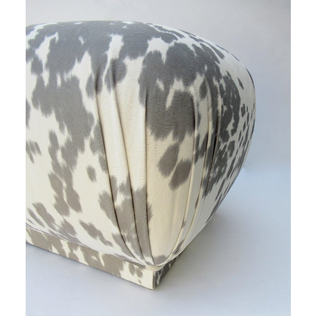 Vintage C.1970s Karl Springer Souffle' Pouf Ottoman in a Nova Suede Pony Hide Spotted Textile For Sale - Image 10 of 13