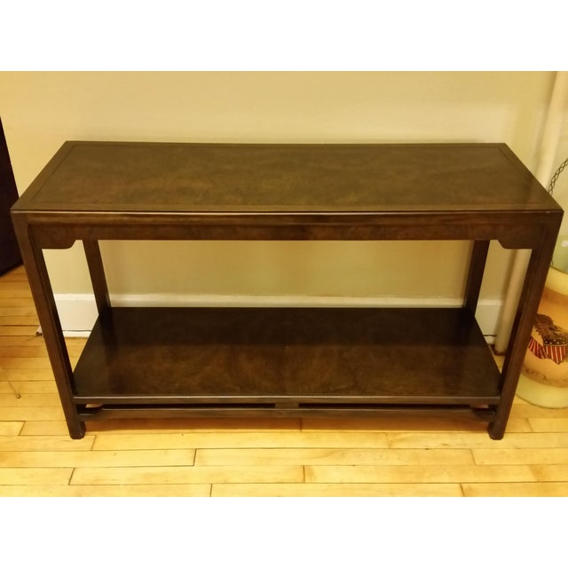A very nice dark burled veneer console or sofa table made by Thomasville. It has the original paperwork still stapled to...