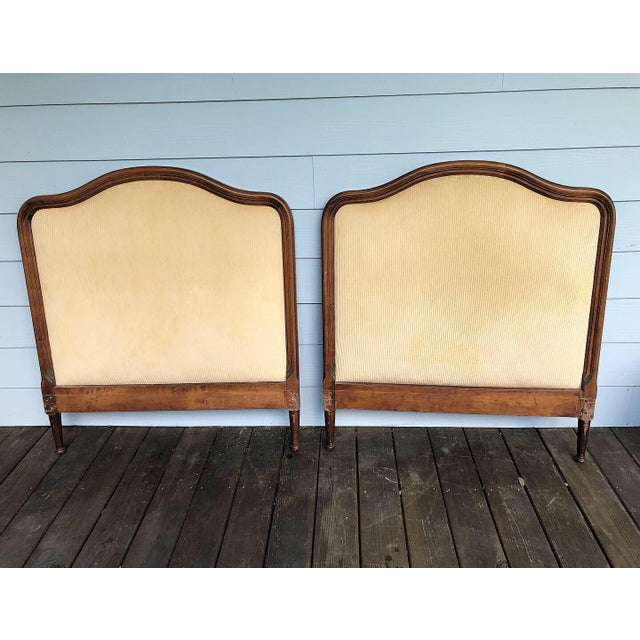 1950s French Twin Headboards Upholstered in Corded Gold Velvet - a Pair For Sale - Image 10 of 10