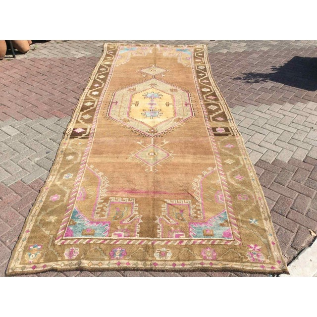 Hand Knotted Brown Turkish Rug For Sale - Image 12 of 12