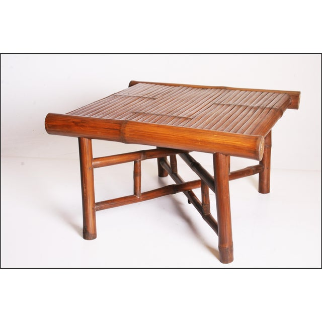 Vintage Brown Bamboo Coffee Table - Image 5 of 11