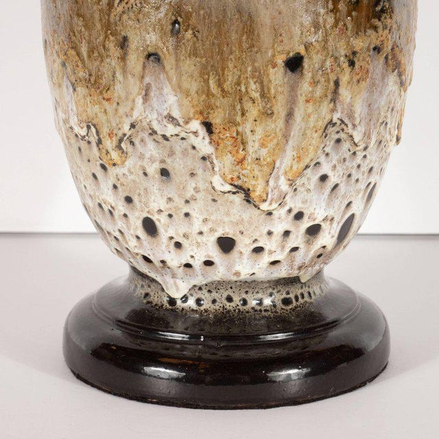 1990s Mid-Century Modern Organic Textured Handcrafted and Glazed Ceramic Lamp For Sale - Image 5 of 10