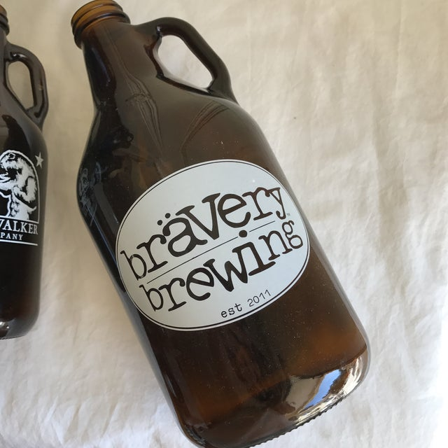 Retro Brown Glass Brewery Jugs - Set of Four For Sale - Image 10 of 10