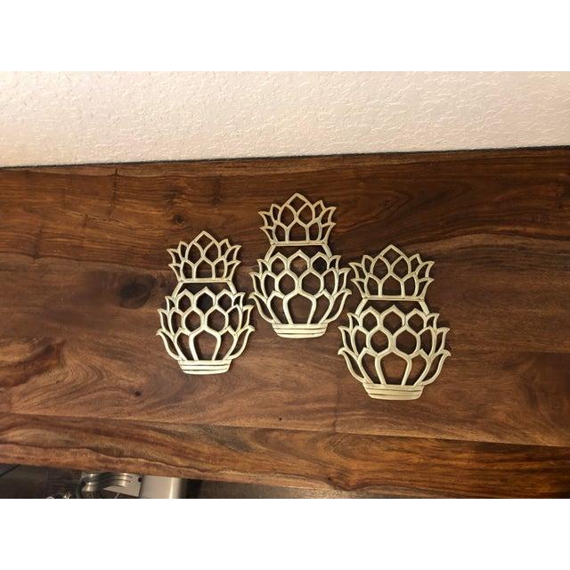 Coastal Style Vintage Solid Brass Pineapple Trivets - Set of 3 For Sale - Image 10 of 10