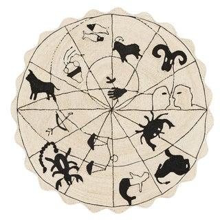 Modern Charlap Hyman Herrero Astrologia Zodiac Beige Abaca Fiber Round Rug- 5′9″ × 5′9″ For Sale