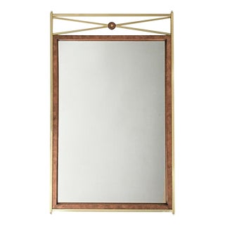 Large Brass & Burl Mirror by Mastercraft For Sale