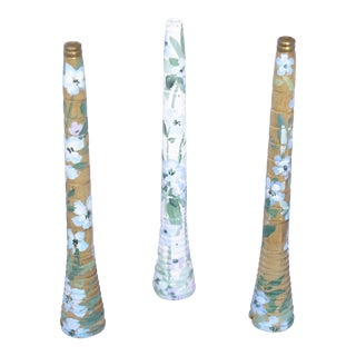 Hand-Painted Wooden Antique Candle Holders - Set of 3 For Sale