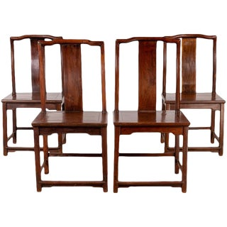 Set of Four Chinese Elmwood Dark Patina Scholar's Ceremonial Side Chairs For Sale