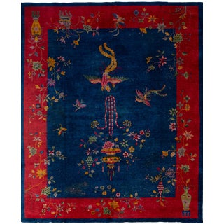 "Early 20th Century Art Deco Chinese Rug, 8'1"" X 9'10"" For Sale"