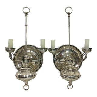 Napoleon III Silver Plate Wall Sconces a Pair For Sale