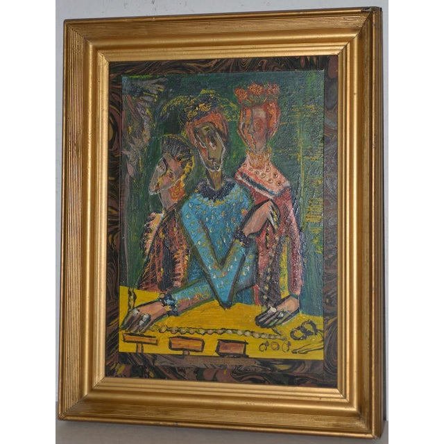 """Ruth Rosekrans (1926-2007) """"Sisters"""" Original Oil Painting c.1950s Ruth Olive Rosenkrans Hoffman was born in 1926 in..."""