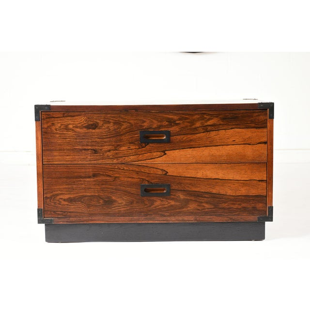 Campaign Pair of Campaign-Style Rosewood Chest of Drawers For Sale - Image 3 of 9
