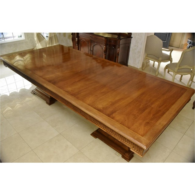 Contemporary Double Pedestal Banquet-Sized Extension Dining Table For Sale - Image 4 of 10