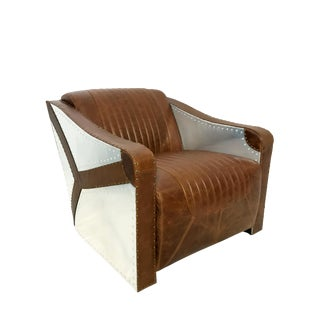 Modern Lazzaro Leather Kryptonite Aviator Style Chair For Sale