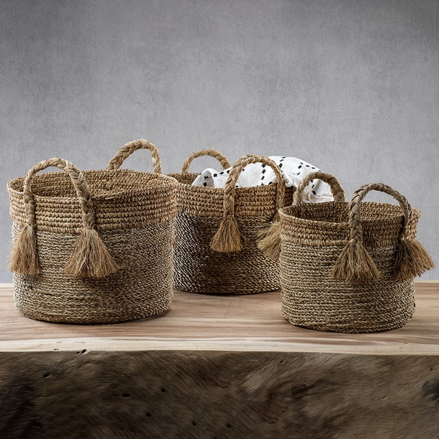 The Barletta Seagrass Baskets - Set of 3 Beautifully woven seagrass baskets with lots of texture and charm. Perfect for...