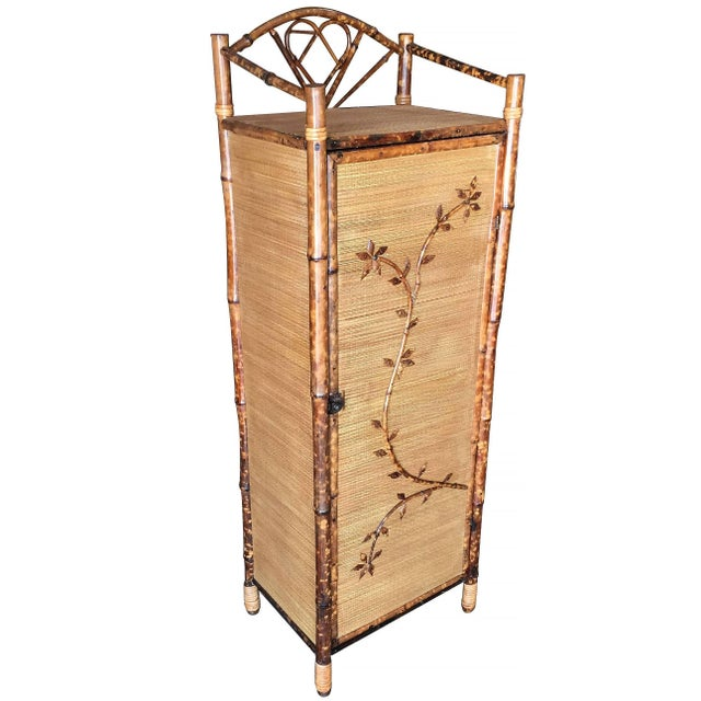 Brown Restored Aesthetic Movement Tiger Bamboo Linen Cabinet With Rice Mat Covering For Sale - Image 8 of 8