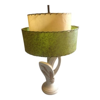 1960s Mid Century Modern Pottery Table Lamp With Green Shade