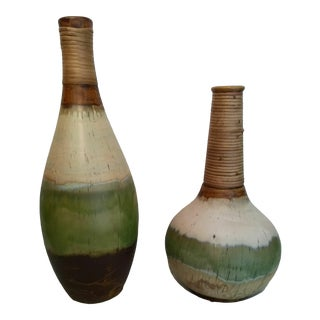 Natural Rustic Casa Cristina Pottery Vases - a Pair For Sale
