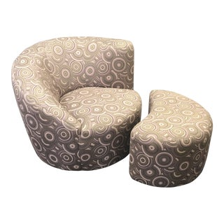 "Vladimir Kagan ""Nautilus"" Swivel Club Chair & Ottoman For Sale"