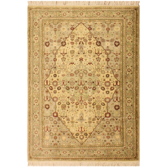 Green Tabriz Pak-Persian Loren Ivory/Lt. Green Wool Rug - 4'8 X 7'1 For Sale - Image 8 of 8