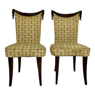 1940s Vintage Grosfeld House Dorthy Draper Style Swag Back Chairs- A Pair For Sale