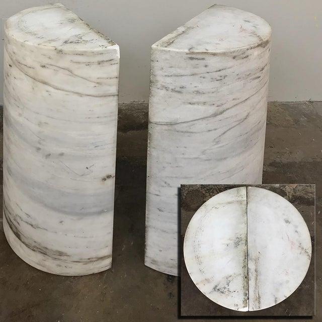 Pair Antique Solid Marble Half-Columns ~ Pedestals For Sale - Image 12 of 13