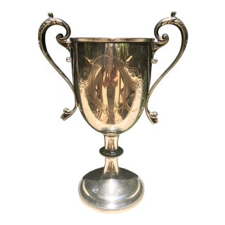 19th Century English Silver-Plate Engraved Two Handle Loving Trophy Cup