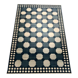 Oversized Blue & White Indian Dhurrie Rug - 12′6″ × 18′9″ For Sale