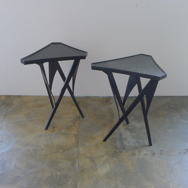 Paul Marra Triangular Steel Side Table For Sale In Los Angeles - Image 6 of 7