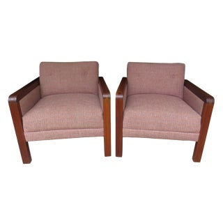 Danish Mid-Century Modern Teak Framed Club Chairs - a Pair For Sale