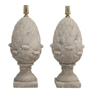 Pair of Articoke Faux Stone Lamps For Sale