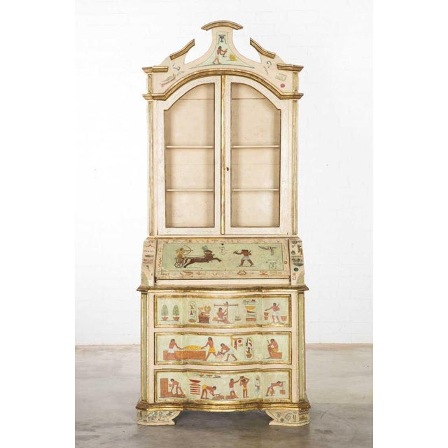 Egyptian Revival Unusual Antique 19th C Egyptian Motif Paint Decorated Italian Secretary For Sale - Image 3 of 6