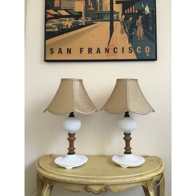 Mid-Century Wood & Hobnail Milk Glass Lamps - Pair For Sale - Image 4 of 10