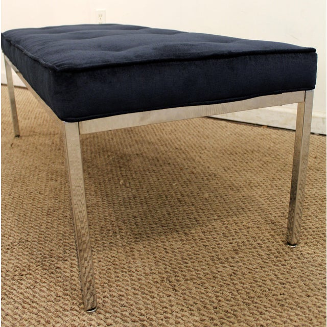 1970s Milo Baughman Style Mid-Century Modern Blue Chrome Bench For Sale - Image 5 of 11