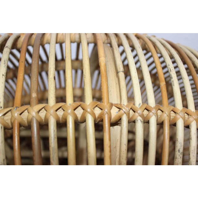 Vintage Franco Albini Attributed Rattan Lounge Chair For Sale - Image 10 of 13